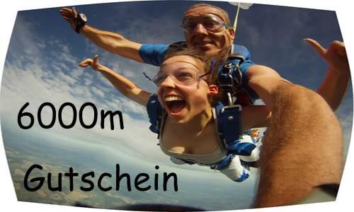 Fallschirmsprung und Tandemsprung Gutschein 6000m, Weihnachtsgeschenk Fallschirmspringen, Geschenk Fallschirm 6000m