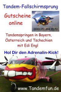 Fallschirmspringen mit Tandemfun in Klatovy Klattau Tschechien