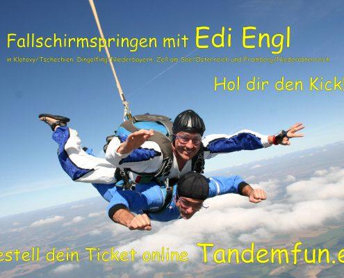 Termine zum Fallschirmspringen Bayern mit tandemfun in Dingolfing und Klatovy.