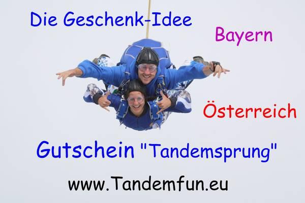 Gutschein Fallschirmspringen aus 6000m selbst ausdrucken. Klattau in Tschechien und Fromberg in Österreich sind die Plätze für 6000 Meter Tandemspringen mit Tandemfun.