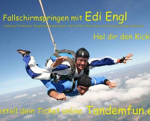 Fallschirmspringen Regensburg Oberpfalz mit Edi Engl aus Amberg. Dein Anbieter für Tandemspringen in Bayern und Österreich. Fallschirmsprünge in Klatovy, Dingolfing, Zell am See und Bromberg. Spass und Sichertheit mit Tandemfun.
