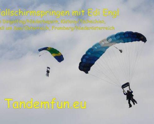 Tandemspringer aus Regensburg kommen zu Edi Engl aus Amberg Oberpfalz. Fallschirmspringen in Klatovy Tschechien Klattau und Dingolfing in Niederbayern mit Tandemfun. Hol Dir den Spass und Adrenalinkick beim Fallschirmsprung. Fallschirmspringen lernen mit