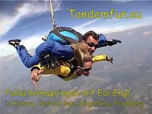 Tandem Fallschirmspringen mit Edi Engl aus Amberg in der Oberpfalz. Die Fallschirmsprünge können online als Geschenk Gutschein gekauft werden. Termine zum Tandemspringen für alle aus der Amberger Gegend sind auf der Webseite ersichtlich.