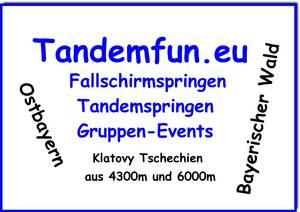Fallschirmspringer aus Weiden kommen nach Klatovy, ca.42 km südlich von Pilsen, zum Fallschirmspringen. Einen Tandemsprung kannst Du bei Tandemfun aus Amberg Oberpfalz  buchen. Gutscheine als Geschenk zum Geburtstag gibt es bei www.tandemfun.eu