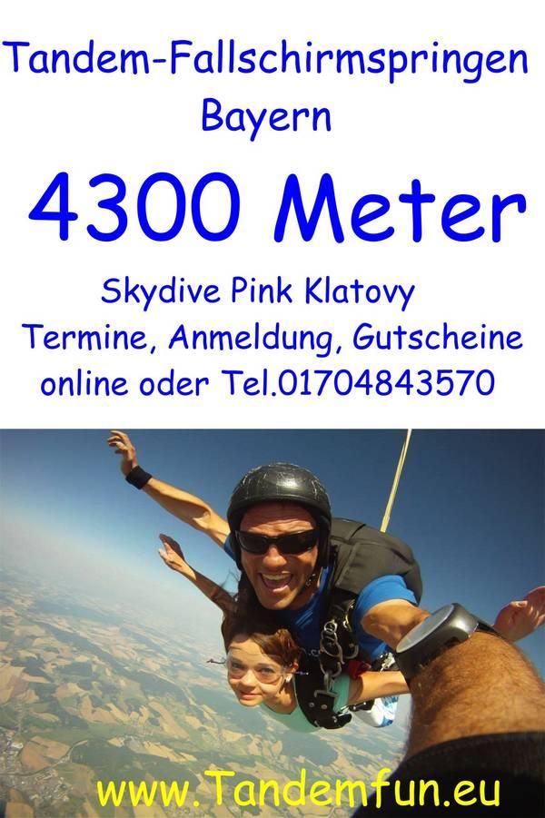 Tandem-Fallschirmspringer aus Regensburg und dem Regensburger Umland kommen nach Skydive Pink Klatovy (Klattau) in Tschechien um einen Tandemsprung aus 4300m oder auch aus 6000m mit Tandemfun zu erleben. Gutscheine, Anmeldung, Termine sind online oder ein