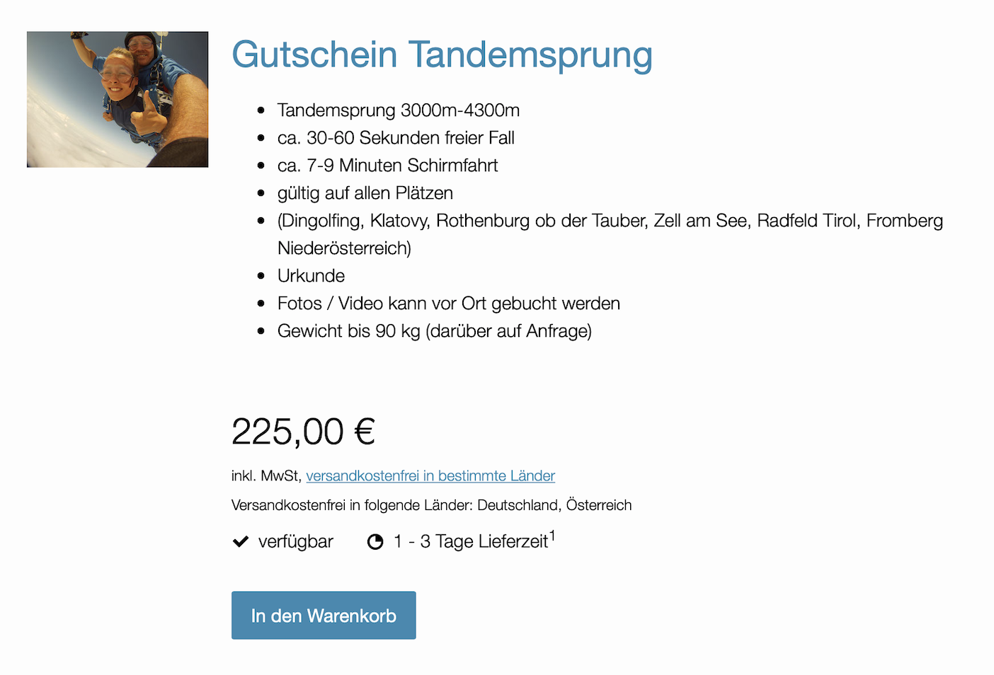 Fallschirmspringen Geschenk Gutschein Bayern